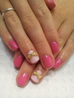 Shellac Nails with Gold Bow