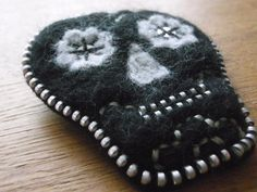 Day of the Dead Inspired Zip and Needle Felted Brooch - Black and Grey