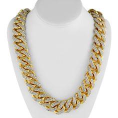 #OF31 - 14K Solid Yellow Gold Mens Diamond Cuban Chain 31.37 Ctw