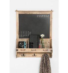 wooden chalkboard with hooks