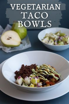 This vegetarian taco bowl recipe is made with seasoned black beans & garbanzo beans for a high protein healthy vegetarian dinner recipe. The avocado creme is easy to make using greek yogurt (soy for vegan) with lime juice & avocado. Top it off with our easy salsa recipe of cucumber, red onion, & pears. The best vegetarian taco salad bowl you'll want for lunch too! Enjoy this protein packed meatless vegetarian recipe when you need a quick dinner idea. Visit USAPears.org for more healthy recipes! Vegetarian Taco Salad, Vegetarian Recipes Dinner, Pear Recipes Breakfast, Avocado Recipes, Healthy Recipes, Pear Varieties, Taco Salad Bowls, Salsa Recipe, Pears