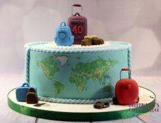 Travel Cake for a Wedding Anniversary Cookie Pizza, Pizza Cookies, Suitcase Cake, Travel Cake, Ruby Wedding Anniversary, J Star, Themed Cakes, Cake Designs, Birthday Cake