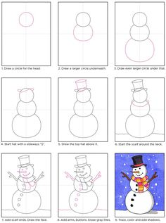 How to Draw a Snowman · Art Projects for Kids : Draw a Snowman like a Boss · Art Projects for Kids Winter Art Projects, Winter Crafts For Kids, Projects For Kids, Christmas Art Projects, Art Drawings For Kids, Drawing For Kids, Art For Kids, Drawing Drawing, Draw A Snowman
