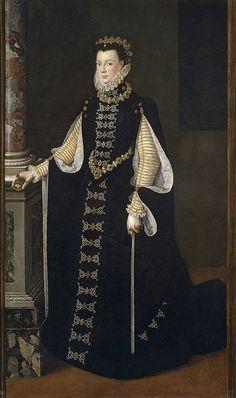 Isabel de Valois sosteniendo un retrato de Felipe II    Anguissola, Sofonisba   1561 - 1565 Prado Museum