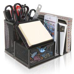 Black Metal Mesh Office Supplies Storage Rack / File Folder Mail Organizer / ...