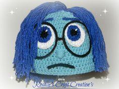 19 Ideas Crochet Hat Character Inside Out Crochet Kids Hats, Crochet Cap, Crochet Beanie, Crochet Crafts, Crochet Clothes, Crochet Stitches, Crochet Projects, Knitted Hats, Crochet Patterns
