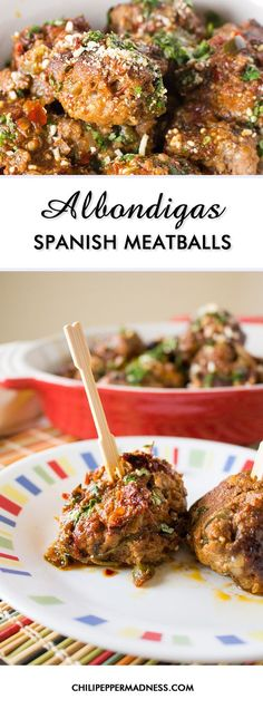 Albondigas - Spanish Meatballs Make these classic Mexican meatballs at home with this recipe and serve them up as appetizers, the main course with a spicy red sauce, or in soup. It's a traditional Mexican comfort food with Spanish roots and they're incr Meat Recipes, Mexican Food Recipes, Appetizer Recipes, Cooking Recipes, Spanish Recipes, Latin Food Recipes, Delicious Recipes, Pepperoni Recipes, Healthy Appetizers