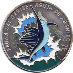 Moneda 5 onzas de plata 50p. Cuba Fauna del caribe Pez aguja 94