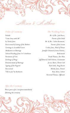 Wedding Program - Printable Templates