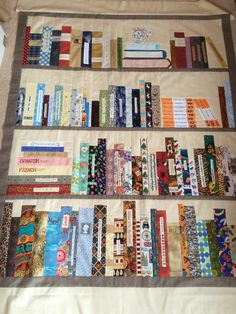Rosemary's bookcase quilt shelves in place 2016