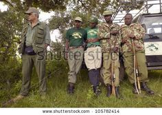 JANUARY 2005 - Dr. Karmari, a veterinarian and group working to find snares capturing animals in Tsavo National Park in Kenya, Africa - stock photo