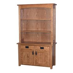 Make a statement in your home office with our Amish Classic Mission Bookshelf. Made to oder in your choice of solid wood from a variety of options, this minimal mission style design includes a base with two doors and two drawers and a hutch-like top with shelves. This design crafted by Amish woodworkers in the USA provides both storage and a place to showcase and keeps books organized. #solidwood #officefurniture #madeinUSA #bookcase