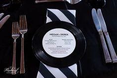 Music & Rock Theme Ideas - Record Wedding Menu - Mazelmoments.com