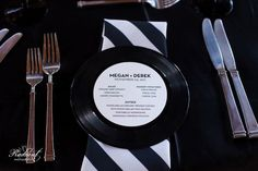 Vinyl Record Menu ~ mazel moments ~ plus more cool ideas for decorations,, invitations, cookies and cakes for music theme parties or weddings