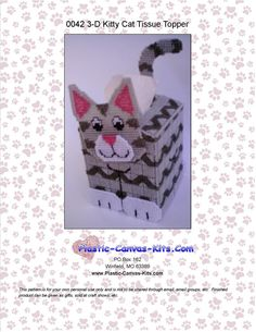 Kitty Cat Tissue Topper-Plastic Canvas Pattern-PDF Download