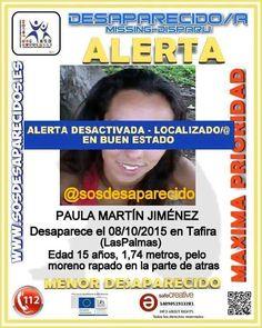 Encontrada en buen estado la joven desaparecida de Las Palmas de Gran Canaria      La joven Paula f...