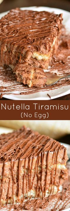 Easy Nutella Tiramisu (No Egg). This Tiramisu is very EASY to make, it has no raw egg in the cream, and LOTS of Nutella flavor throughout. #nutella #nutelladessert #tiramisu #easydessert