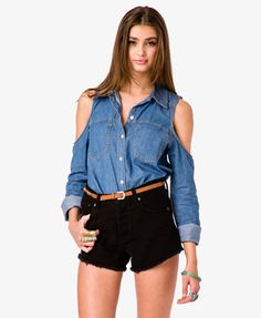 Cutout Denim Shirt | FOREVER21 - 2017307061   http://www.forever21.com/Product/Product.aspx?BR=f21=top=2017307061=