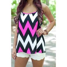Chevron Spaghetti Strap Blouse These bold colors are gorgeous in. Classic Chevron pattern Tops Tank Tops