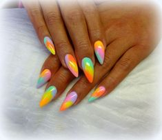 Nail art Christmas - the festive spirit on the nails. Over 70 creative ideas and tutorials - My Nails Glam Nails, Neon Nails, Dope Nails, Cute Acrylic Nails, Stiletto Nails, Hair And Nails, My Nails, Neon Nail Designs, Unicorn Nails