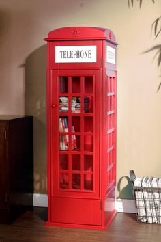 Phone Booth Cabinet » How much fun is this shelf?!