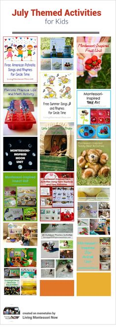 Montessori-inspired themed activities along with calendar observances throughout July - activities for home or classroom