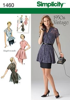 Purchase Simplicity 1460 Misses' 1950's Vintage Peplum Tunic & Blouse and read its pattern reviews. Find other Tops, sewing patterns.