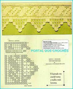PORTAL DOS CROCHÊS: BARRADOS DE CROCHÊ FILÉ COM GRÁFICOS