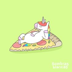 Paint me like one of your Italian girls. 🦄❤ This Unicorn is unstoppable, guys. (open to ideas 😝) . This illustration is now available at the Art Shop link in bio as art print, t-shirt and mug Real Unicorn, Unicorn Art, Magical Unicorn, Unicorn Memes, Unicorn Poster, Kawaii, Pizza Kunst, Pizza Cartoon, Cartoon Art