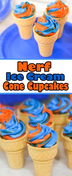 You'll be on target for hosting the ultimate Nerf birthday party with these fun Ice Cream Cone Cupcakes. Make them with the traditional Nerf Colors - orange and blue, or use green and orange for Nerf Zombie theme. Nerf Party Food, Birthday Party Snacks, Party Desserts, Boy Birthday Parties, 7th Birthday, Birthday Ideas, Boy Birthday Cupcakes, Thomas Birthday, Birthday Activities