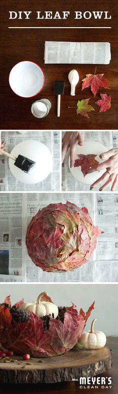 Why stop at just raking the leaves when you can decoupage them, too? All you'll need are a few brightly colored ones that strike your fancy, a balloon, a sponge paintbrush and some decoupage glue to whip them up into a DIY leaf bowl perfect for holding all sorts of festive fall goodies.