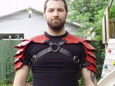 Hardened leather dragon scales double shoulder by lantredurenard