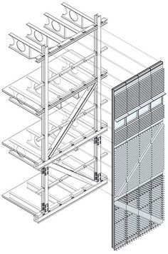Each panel consists of an aluminum frame with reinforcements and stainless steel spacers for thermal break. Architecture Drawings, Facade Architecture, School Architecture, Steel Detail, 3d Modelle, Construction Drawings, Detailed Drawings, Facade Design, Steel Structure