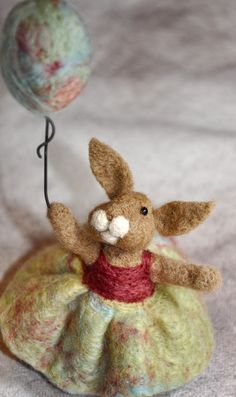 felted rabbit and balloon