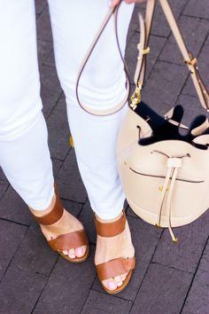 White jeans & cognac sandals.
