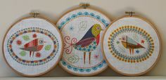 The three new Birdie embroidery kits ... from left to right ... Birdie 3, Birdie 1, and Birdie 2