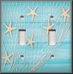 Beach Home Decor - Starfish Fishing Net Aqua Blue - Light Switch Plate Cover  #LunaGallerySwitchPlates