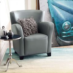 Oxford Textured Leather Chair - Grandin Road