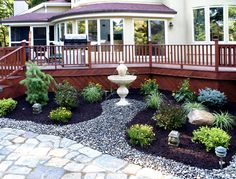 Coming across rock landscaping ideas backyard can be a bit hard but designing a rock garden is one of the most fun and creative forms of gardening there is. River Rock Landscaping, Landscaping Around House, Stone Landscaping, Landscaping With Rocks, Front Yard Landscaping, Backyard Patio, Landscaping Ideas, Backyard Ideas, Garden Ideas