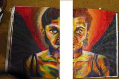 AS Level, 12. Self-portraiture. Final piece composition ideas. Oil pastel left, acrylic right.