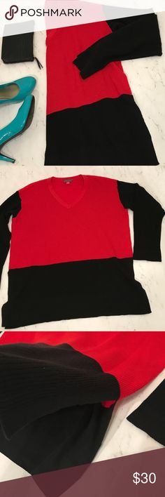 Vince Camuto Sweater Size Large Gently used.  Red and black. Vince Camuto Sweaters V-Necks