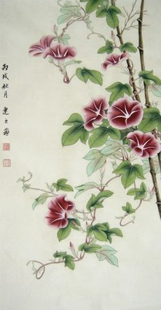 """Photo from album """"Вьюнок"""" on Yandex. Japanese Painting, Chinese Painting, Easy Watercolor, Watercolor Flowers, Silk Painting, Acrylic Paintings, Japanese Prints, Abstract, Drawings"""
