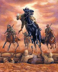 Pastel painting by military equestrian artist Jennifer Marshall of a black horse, and her rider Leiutenant Guy Haydon in the Australian Light Horse Charge of Beersheba. Military Art, Military History, Military Diorama, Military Uniforms, World War One, First World, Model Box, Anzac Soldiers, Ww1 Pictures