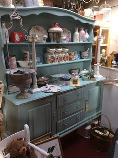Coolest blue vintage painted dresser and ideal for display @ Hey JUDES Barn KZN Double Vanity, Buffet, Dresser, Barn, Display, Cabinet, Cool Stuff, Storage, Furniture