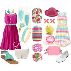Mommy & Me Easter by kristin-rose-1 on Polyvore featuring Lucky Brand, Valentino, Mulberry, Kate Spade, Kendra Scott, Accessorize, Fornash, Nanni and San Diego Hat Co.