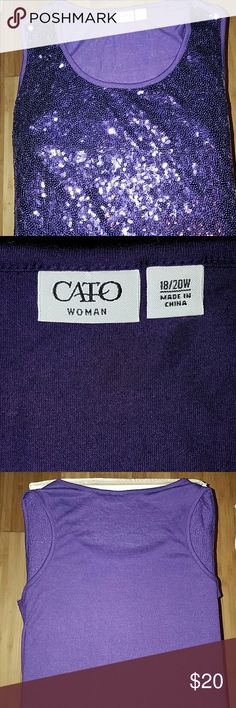 Like New Ladies Cato Blouse Purple Sexy Sleeveless Sequels Cato Tops Blouses