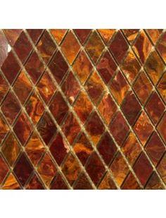 1x1 Multi Red Gold Onyx Diamond Pattern Polished Finish Mosaic Tile