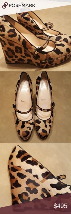 """Christian Louboutin leopard wedge Fabulous pony fur leopard wedge from Louboutin!  Like new on every exposed surface with some wear on the sole.  Size 40;   fits like 9 1/2.  5"""" heels. Christian Louboutin Shoes Heels"""