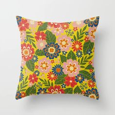 Buy Colorful Hippie Boho Retro 70s Floral Throw Pillow by somecallmebeth. Worldwide shipping available at Society6.com. Just one of millions of high quality products available. Colorful Throw Pillows, Yellow Pillows, Floral Throw Pillows, Designer Throw Pillows, Couch Pillows, Down Pillows, Oriental Flowers, Pillow Design, Pillow Inserts