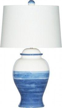 Balboa Bay // Italian ceramic jar in cream and blue color blocked glaze and cream linen burlap shade // Model # LZ-63912
